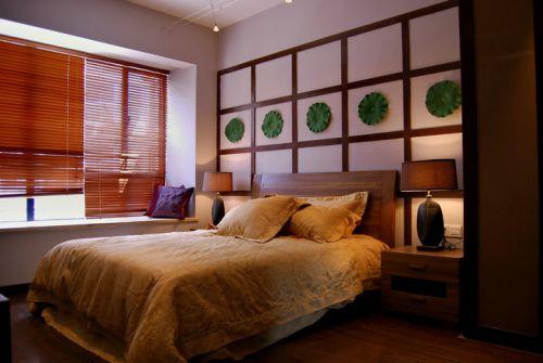 中式风格三居室卧室飘窗装修效果图