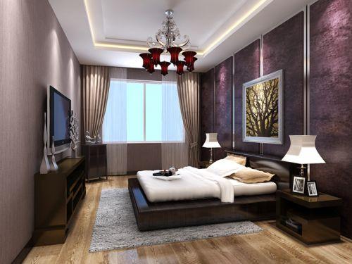 中式古典三居室卧室壁纸装修图片