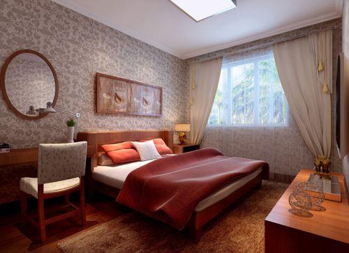 中式风格四居室卧室床装修效果图大全