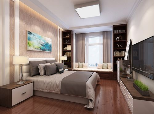 中式風格三居室臥室飄窗裝修效果圖