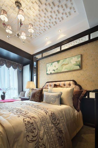 中式风格二居室卧室灯具装修图片