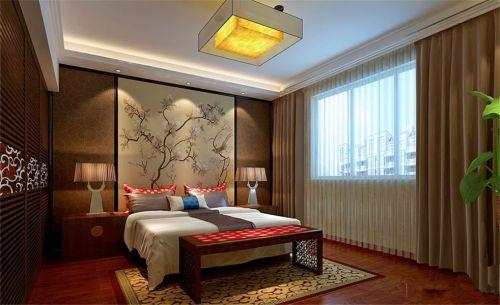 新中式风五居室卧室床头柜装修图片