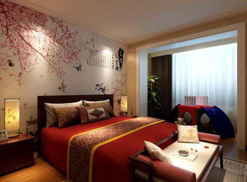 中式古典二居室卧室背景墙装修效果图大全