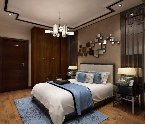 中式风格三居室卧室衣柜装修效果图