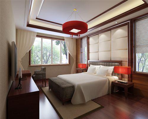 中式风格三居室卧室吊顶装修图片