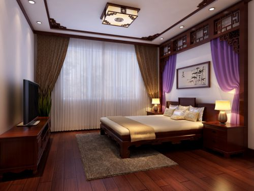 中式风格三居室卧室床装修图片