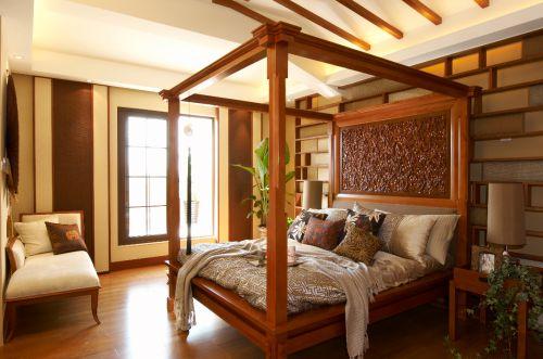 中式古典四居室卧室飘窗装修效果图大全