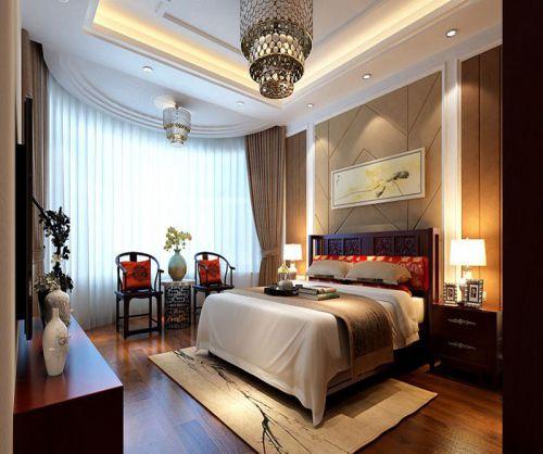 中式风格三居室卧室飘窗装修图片