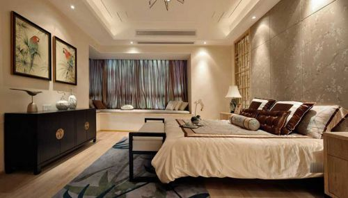 中式风格三居室卧室床装修效果图