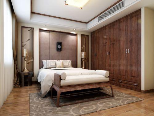 咖啡色中式古典风格卧室组合柜装修效果图