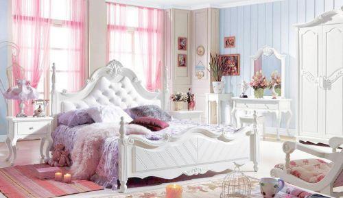 白色欧式风格浪漫卧室床头柜效果图