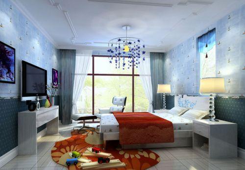 欧式风格四居室卧室背景墙装修效果图欣赏