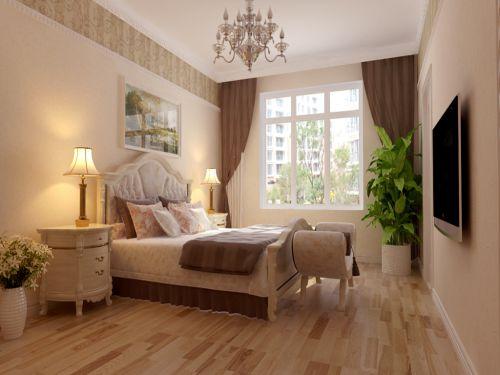 欧式新古典三居室卧室背景墙装修效果图