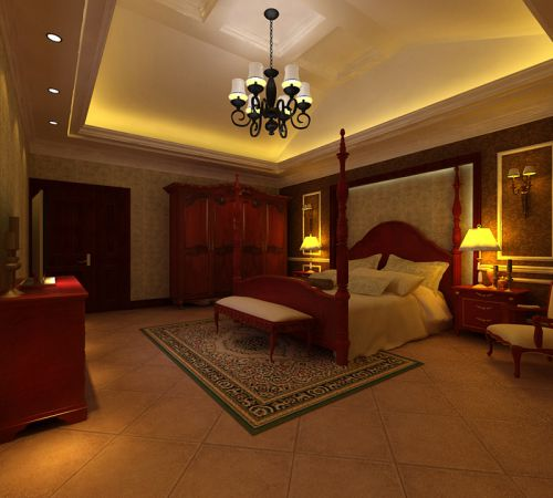 欧式新古典风格别墅卧室装修效果图