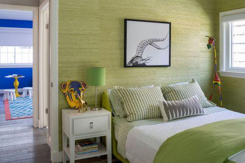 绿色现代简约卧室装修效果图