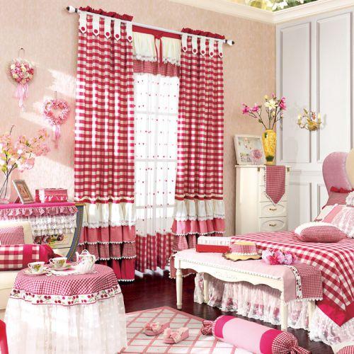 红色格子田园风格卧室窗帘效果图