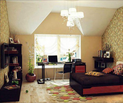 黄色田园风格可爱小飘窗卧室设计