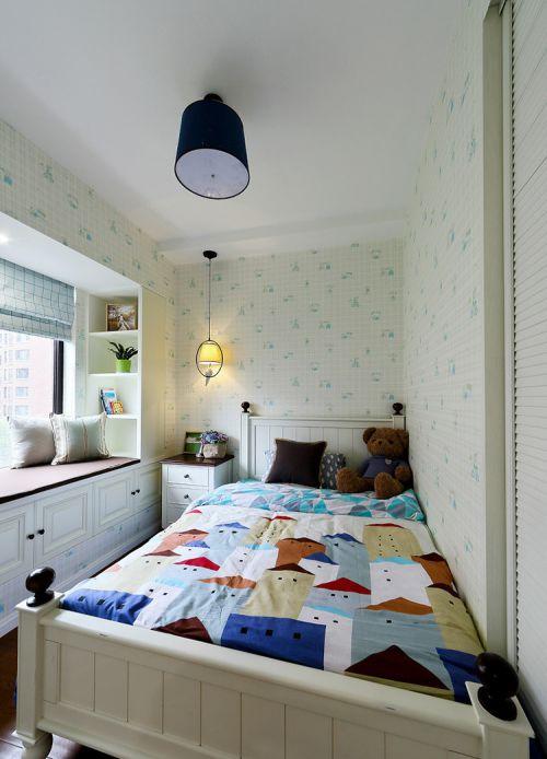 静谧优雅田园风格卧室飘窗实景效果图