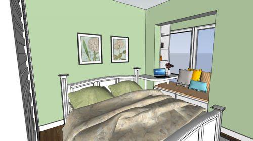 田園風格一居室臥室飄窗裝修效果圖大全