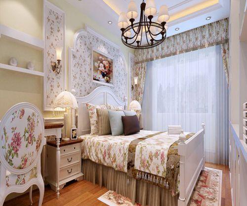 田园风格三居室卧室吊顶装修图片