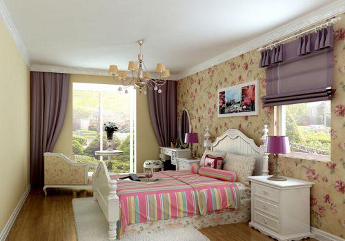 田園風格三居室臥室飄窗裝修圖片