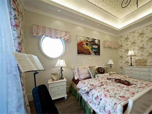 田园风格三居室卧室组合柜装修效果图大全