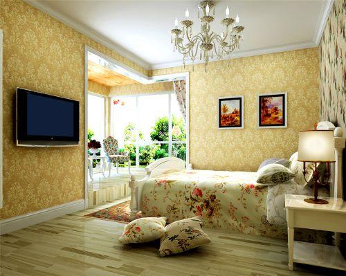 田园风格三居室卧室装修效果图欣赏