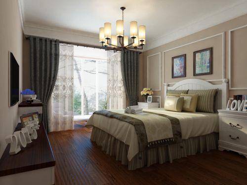 田园风格三居室卧室背景墙装修效果图