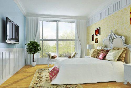 田园风格三居室卧室壁纸装修效果图欣赏