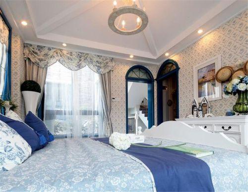 地中海风格卧室蓝色花纹壁纸装修效果图