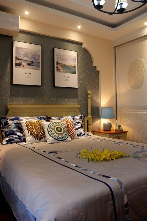 时尚地中海风格卧室床头背景墙装修效果图