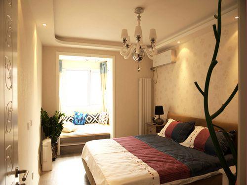 地中海風格三居室臥室飄窗裝修效果圖