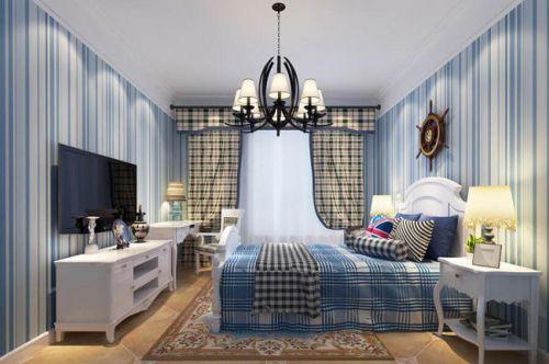 地中海风格三居室卧室背景墙装修图片