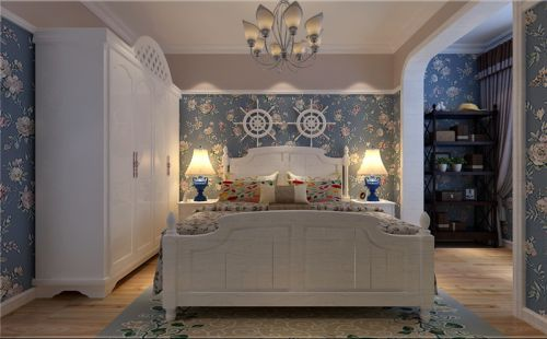 地中海风格三居室卧室电视柜装修效果图