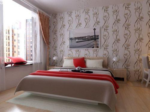地中海風格三居室臥室飄窗裝修圖片