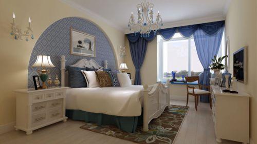 地中海風格三居室臥室飄窗裝修效果圖欣賞