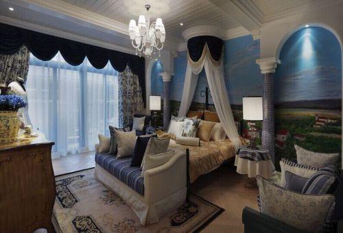 地中海风格二居室卧室背景墙装修效果图大全