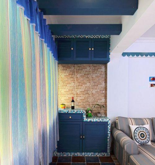 地中海風格二居室臥室飄窗裝修圖片