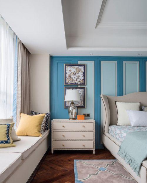 清新优雅地中海风格卧室飘窗装修实景图