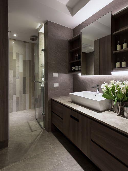 雅致现代风格卫生间洗手台装修实景图