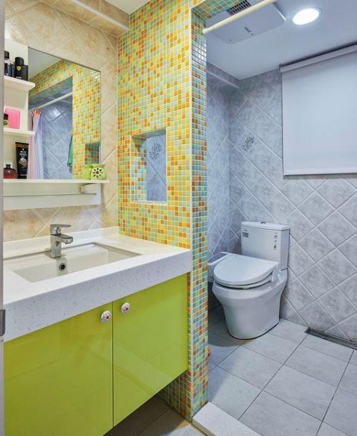 现代亮色卫生间洗手台马赛克背景墙设计