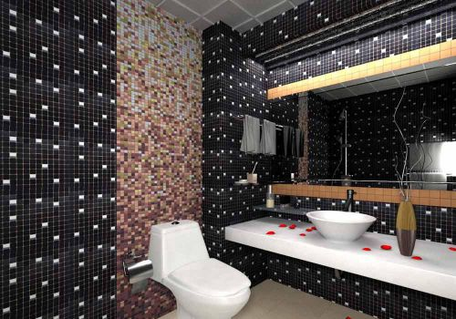 现代家装卫生间马赛克背景墙装修效果图