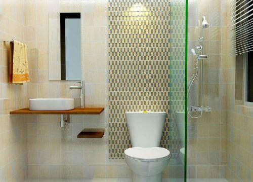 现代风格两居室卫生间瓷砖背景墙设计图