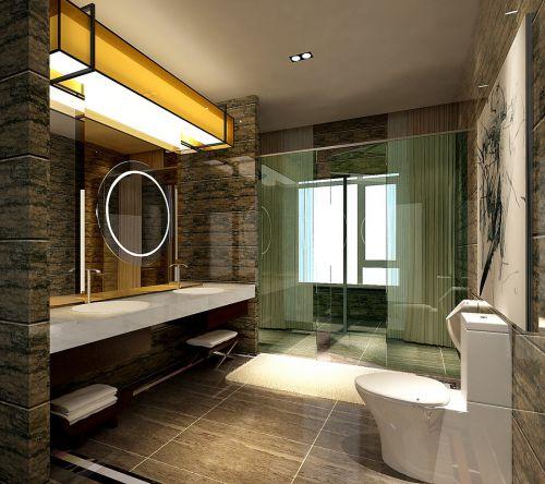现代简约别墅卫生间窗帘装修效果图欣赏