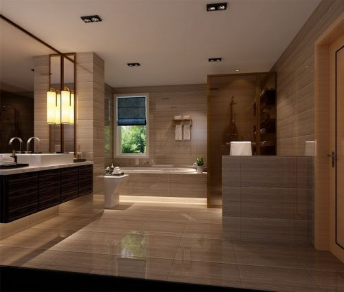 现代简约三居室卫生间灯具装修图片