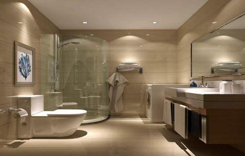 现代简约三居室卫生间照片墙装修图片