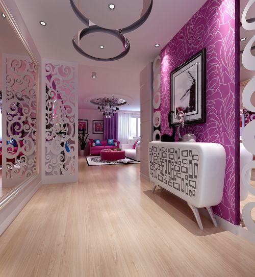 现代简约二居室玄关影视墙装修效果图大全