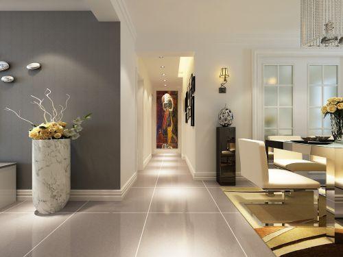 现代简约三居室玄关壁纸装修效果图大全