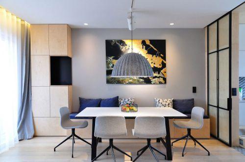 简洁纯净现代风格餐厅灯具装修实景图
