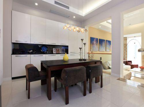 优雅现代风格餐厅白色储物柜装修图片